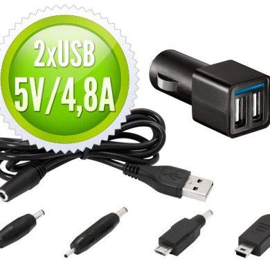 Cargador de coche para tablets y móviles 2 USB